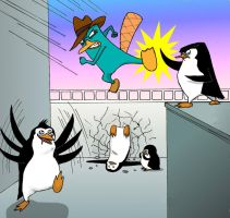 Platypus vs penguins by maiwey