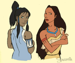 Korra and Pocahontas by spazzerilla