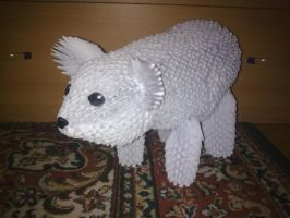 3D origami ice bear by Michaelle111