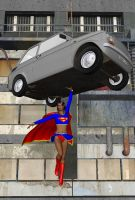 Supergirl vs. a fiat 126 by cattle6