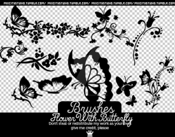 Brushes FlowerWithButterfly by RadioactivColor