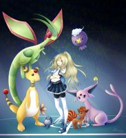 Marion and her Pokemon team by Milasery