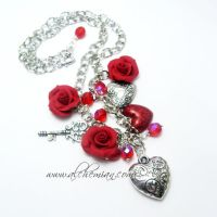 Red rose necklace by AlchemianShop