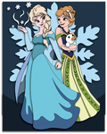 Commission:  Anna and Elsa Shadowbox Mockup by The-Paper-Pony