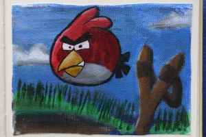 Angry Bird  -acryl on canvas- by Fanatic-Love