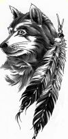 Wolf Head and Feathers by Aidelon