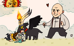 crowley walking his mini baphomet - for bruna by beagleamarelo