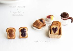 peanut butter grape jelly toasts sandwich jewelry by LaNostalgie05