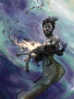 Poseidon Saves Parthenope by gallegosart-com