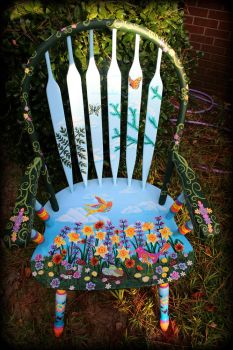 Whimsical Wildflower Chair - Front View by ReincarnationsDotCom