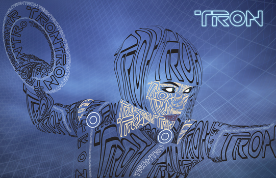 Tron Typography Movie Poster by moonlitdreamsx
