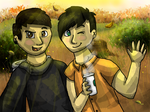 A Dan and Phil Autumn by waffleswaddlesAJ