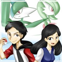 AT - Arkha and Maya with Gallade and Gardevoir by himehisagi