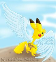 The winged Pikachu by TheGreenPikachu