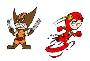 Chibi Flash n Wolverine by PlummyPress