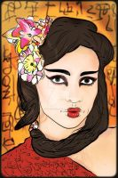 Geisha with lillies in her hair by CPA-x-e-n-o-i