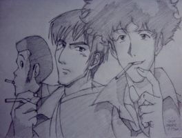 smoke buddies: lupin iii, wolfwood and spike by reijr