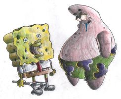 SpongeBob and Patrick. by Virus-20