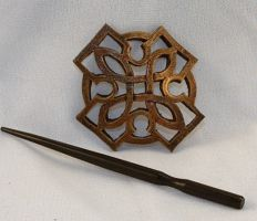 Leather Celtic / Oriental Mini Barrette by ArmouredWolf907