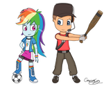Art Trade for colacube23 - Rainbow Dash and Scout by GamingGoru