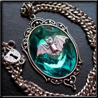 Aqua Bat Necklace by Horribell-Originals