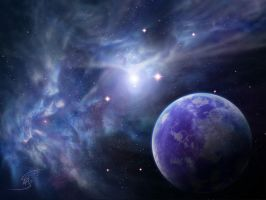 Fractal Nebula And A Blue Planet Wallpaper 1600x12 by Anikoo