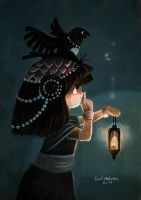 Girl and Jackdaw by evelmiina
