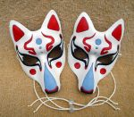 Fancy Traditional Kitsune Mask, white by merimask