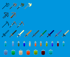 Weapons and Potions by fax-celestis