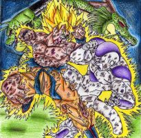 Goku Ssj V.s Freezer, Shenron and Porunga by cheygipe