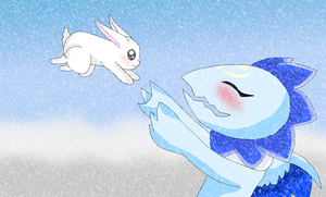 Cottonicemon and the snow rabbit playing by HeroHeart001