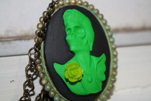 Zombie Elvis Cameo Necklace by Feltbetterplush