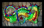 Stained glass dragon window by Reptangle