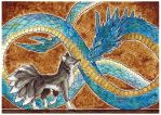 Art Trade: Crystal Serpent and Black Fox by Ezaura