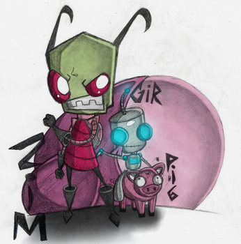 IZ: Doodle: Zim and GIR by Lavenkitty