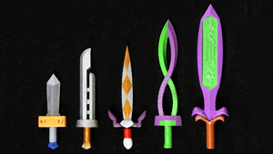 LEGO 3D Printed Painted Majora's Mask Swords by mingles