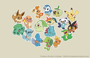 Pokemon Starters Wallpaper by EvilQueenie