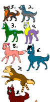 14 canine's adoptables OPEN by Nommy-Adopts