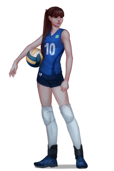female volleyball player by Emilyena