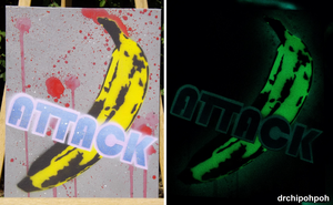 Banana Attack Stencil on Canvas by drchipohpoh