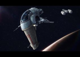 Star Wars Shrike and Tanker by AdamKop