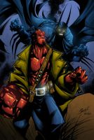 Hellboy and Batman by AlonsoEspinoza