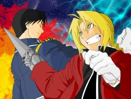 For Allichan:Fire vs Fullmetal by grivitt