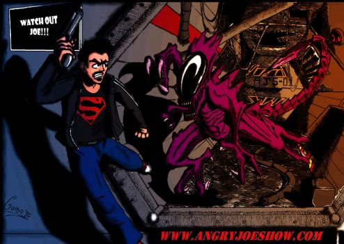 angry joe vs alien by zodd88