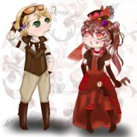 Joules and cogs chibis digital by Fablekiss