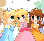Peach, Rosalina, Daisy by dragonfire-527