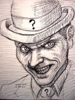 Riddler (pen sketch) by myconius
