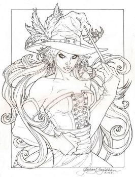 Witchy lineart by FanaticCalligrapher