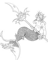 merman lineart-free to use by evilsnowball7
