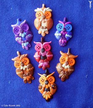 Colorful Owls by TrollGirl